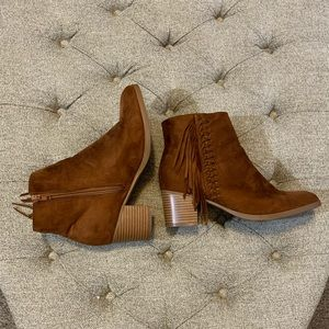 Faux Suede Fringe Booties